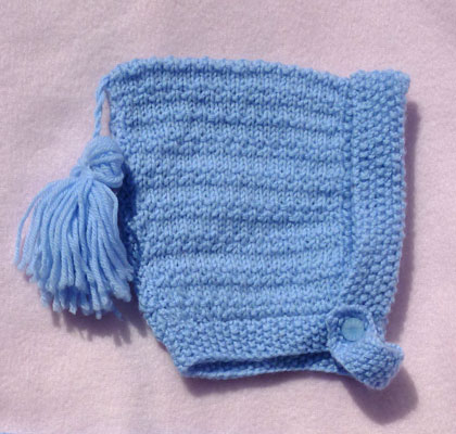 hand knitted baby blue hat