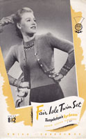 ladies fair isle twinset with border design 1940s knitting pattern