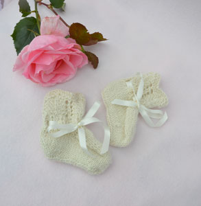 vintage alpaca style hand knitted baby bootees