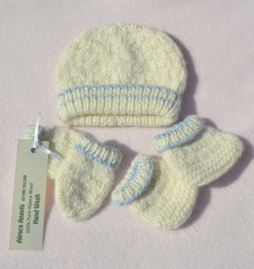 vintage style baby boys pullon hat and bootes and mittens in baby alpaca wool