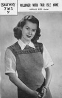 vintage pullover knitting pattern for lady with fair isle yoke 1940s