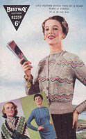 vintate ladies feather and fan fair isle cardigan and scarf 1950s