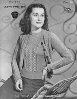 vitnage ladies cardigan and jumper twinset knitting pattern 1940s