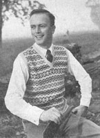 viintage men's fair isle slipover knitting pattern 1940s