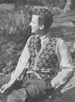 vintage mens fair isle waistcaot knitting pattern 1940s