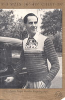 vintage men's fair isle jumper withwinged horses on yoke 1940s patons 397