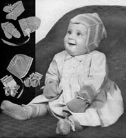 vintage baby bonnets knitting pattern from 1940s