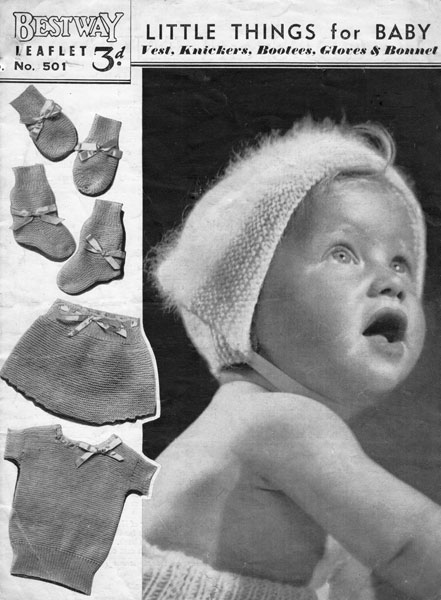 vintage baby set knitting pattern from 1940s