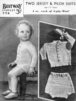 vintage baby boy knitting pattern from 1940s