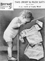 baby boys suit knitting pattern from 1940s