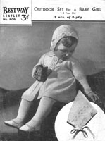 vintage baby pram set knitting pattern from 1940s