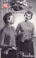 vintage ladies cardigan and jumper knitting pattern 1940s