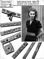vintage knitted anbd embroidered belts from 1930s