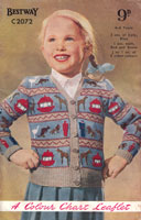 vintage fair isle girls cardigan with Noahs ark from 1950s knitting pattern
