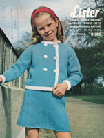 vintage little girls suit knitting patternw ith double breasted jacvket 1960s