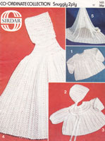 vintge 2ply baby cape and matinee set knitting pattern sirdar 1970s