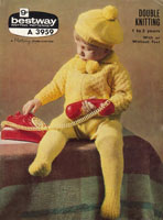 vintage baby pram set knitting pattern 1960s