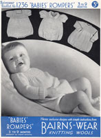 baby knitting pattern for romers from 1930s