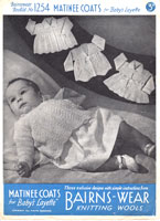 vintage 1930s baby kniting pattern for matinne jackets
