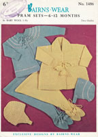 vintage baby pram set knitting pattern 1950s