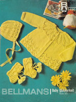 vintage baby jacket ands bonnet knitting pattern 1960s