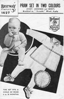 vintage bestway knitting pattern for pram set fair isle trim 1940s