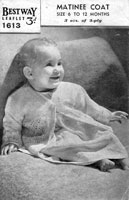 vintage baby matinee coat kniting pattern from bestway in 1940s