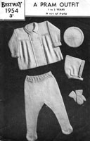 vitnage bay pram suit with pixie hood knitting pattern from 1940s