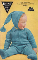 vintage baby all in one pram suit knitting patern 1950s
