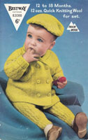 vintage baby pram suit knitting pattern with beret 1950s