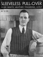 vintage patons 3139 mans cable tank top knitting pattern 1930s