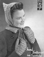 vintage hood and mittens knitting pattern 1940s
