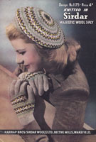 vintage sirdar beret and gloves knitting patten 1940s