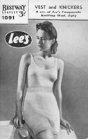 vintage ladies underwear knitting pattern 1940s for vest and knickers bestway 1091