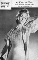 vintage ladiesvest knitting pattern from 1940s