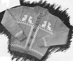 vintage knitting pattertn intarsia childs cardiagn