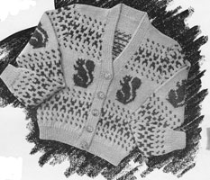vintage knitting pattern for intarsia or picture knits child squirrels
