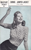 vintage bestway2043 knitting pattern ladies summer short sleeved cardigan top 1940s