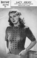 vintage bestway ladies summer top lacy jumper bestway 2274 vintage knitting pattern 1940s