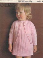 vintage baby dress and cardigan knitting pattern 1960s