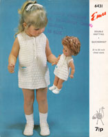 girls dress and doll dress to match knitting pattern 1960s