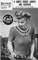 vintage ladies short sleeved jumper 1940s knitting pattern bestway
