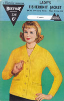 vintage ladies shawl collar cardigan  in double knitting 1950s Bestway