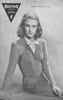 vintage ladies knitting pattern bestway cardigan 1940s