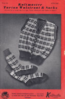 vintage mans tartan waist coat and socks knitting pattern for knitmaster vintage knitting machine 1940s