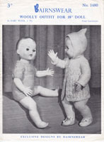 vintage baby doll romper fro roddy or pedigree doll with pram set knitting pattern 1950s