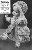 vintage baby doll knitting pattern for sale bestway 1527 1940 in good condition