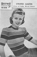vintage Bestway ladies jumper knitting pattern 1940s