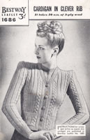 vintge ladies 1940s cardigan knitting pattern