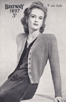 vintage ladies cardigan kniting pattern 1940s